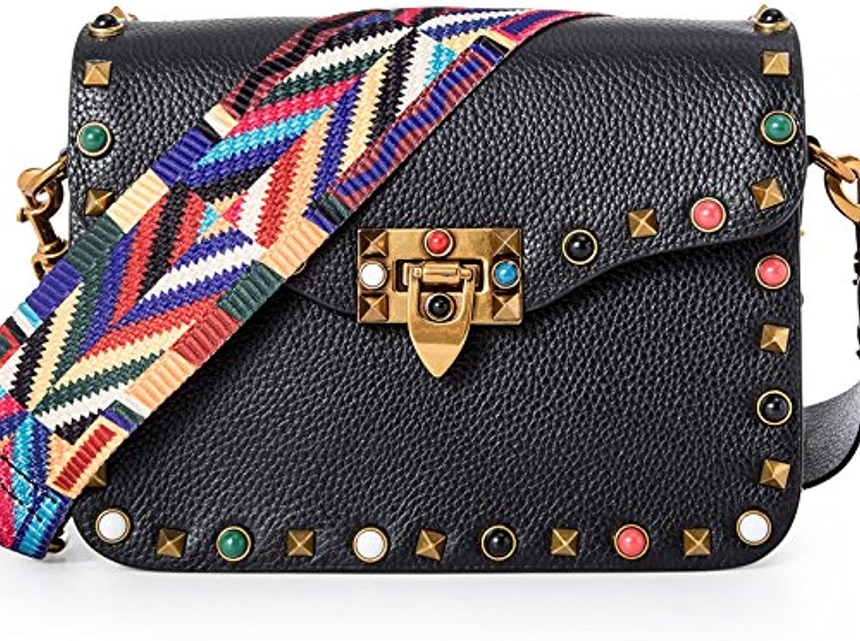 AI BAO Women's Leather Shoulder Diagonal Small Square Bag Fashion color Rivet Handbag