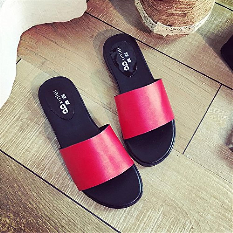 WYMBS Women's Slippers & Flip-Flops Spring Comfort PU Outdoor Flat Heel open heel slippers,red,36
