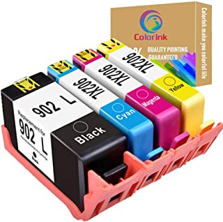 ColorInk 4Pack 902XL high Yield Ink Cartridge Compatible for HP 902 XL Ink cartridges use with HP 6968 6978 6958 6962 6960 6970 6979 6950 6954 6975 Printer cartridges