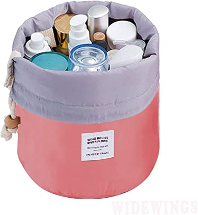 WIDEWINGS Bucket Barrel Shaped Cosmetic Pouch | Cosmetic Round Pouch | Makeup Bag Travel Case Pouch (Multi-Color)
