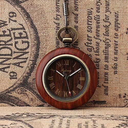 MC-BLL-Pocket Watch Pareja Personalidad Moda Grano de Madera Escamas Romanas Reloj de Bolsillo clásico Reloj de Bolsillo de Cuarzo no Cubierto, Grosor del dial: 10 mm diámetro de la Esfera: 44 mm