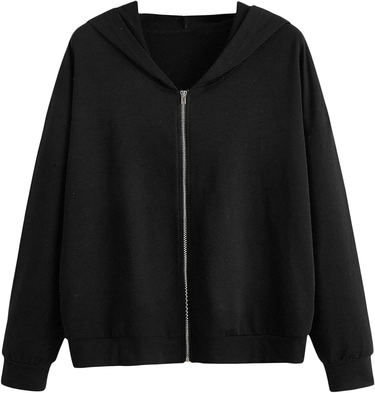 SOLY HUX Women's Long Sleeve Zip up Drawstring Hoodies Crop Top Sweatshirt with Pocket