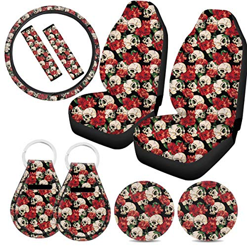 Tupalatus Sugar Skull Floral Car Seat Covers +Front Seat Cup Holder Coasters, Anti-Skid Steering Wheel Cover +Seat Belt Cushion Strap Pads Car Interior Accessories Full Set 9 Pack