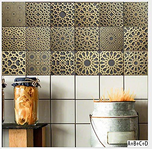 Carrelage Adhesif mural 20 X 20cm X20pcs style marocain rétro papier peint stickers muraux accueil salon chambre cuisine décoration autocollant outils couture