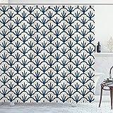 ABAKUHAUS Geometrisch Duschvorhang, Eastern Cloud-Motiv, Digital auf Stoff Bedruckt inkl.12 Haken Farbfest Wasser Bakterie Resistent, 175 x 240 cm, Dunkelblaue Creme