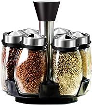 Widousy 6-Jar Revolving Spice Rack Organizer, Spinning Countertop Herb and Spice Rack Organizer with 6 Glass Jar Bottles (Spices Not Included)