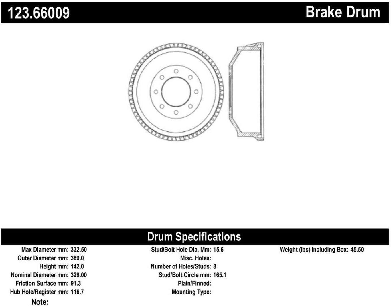 Centric Parts 123.66009 Brake Price reduction Drum Milwaukee Mall