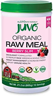 Juvo Organic Raw Meal Berry Slim, 21.2 Ounce, Vegan, Gluten Free, Non-GMO, No Stevia, 5 Bil CFU Probiotics, 9g of Fiber