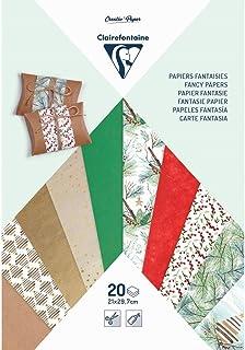 Clairefontaine 95630C Bloc de 20 Papiers Créatifs - Format A4 (21x29,7cm) - Papier à Motifs + Papier Kraft + Papier Calque...