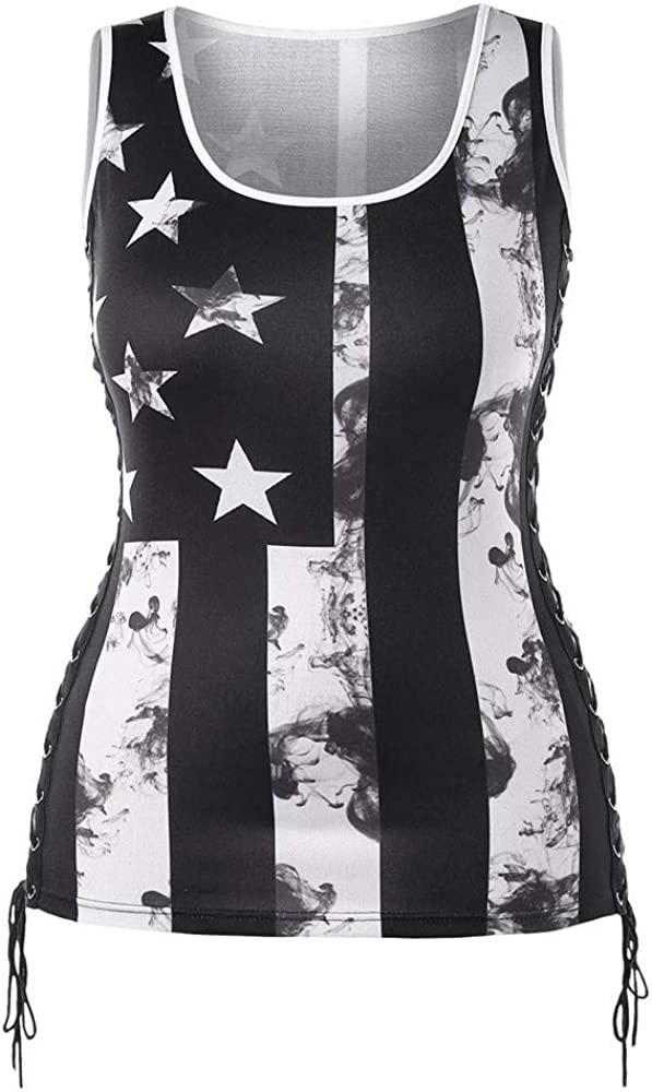 Forthery Womens Patriotic American Flag Print Tank Top,Sleeveless Side lacing Racerback Tank Vest Tops Casual Blouse