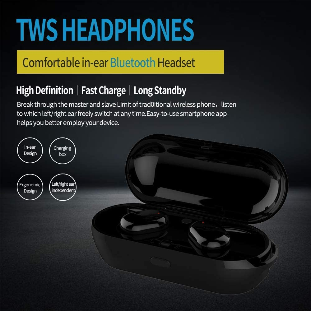 TWSWZ Bluetooth earplug TWS Bluetooth 5.2 Headset, high Sound Quality Bluetooth Headphones with Charging Box Bluetooth Wireless Headset