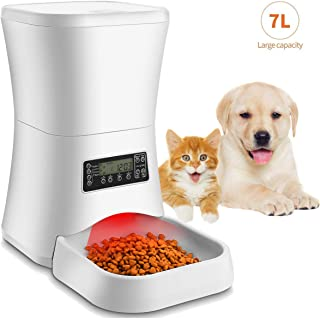 Homdox 7L Automatic Pet Feeder Food Dispenser for Cat and Dog, Auto Cat Feeder with Timer Programmable, Portion Control & Voice Recording - Up to 4 Meals for Small to Large Size Cats Dogs