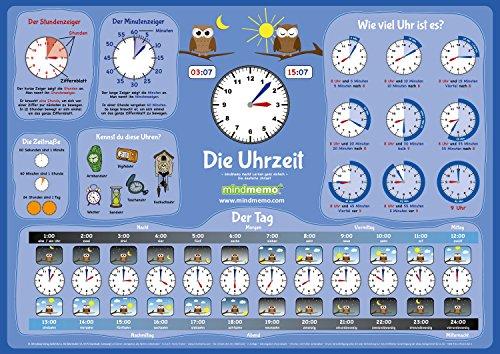 mindmemo Lernposter - Die Uhrzeit lernen Grundschule Poster Deutsch lernen Uhr für Kinder Lernhilfe Zusammenfassung DIN A2 42x59 cm PremiumEdition in Transportrolle