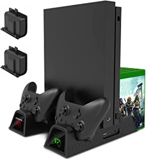 MENEEA Charging Stand for Xbox One/Xbox One S/Xbox One X Console and Controllers, Vertical Cooling Stand Accessories with ...