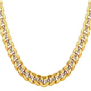 "U7 Men Unisex Two-Tone Jewelry 6mm-9mm Wide Platinum & 18K Gold Plated Cuban Chain Necklace (18"",20"",22"",24"",26"",28"",30"")"