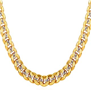 Men Unisex Two-Tone Jewelry 6mm-9mm Wide Platinum & 18K Gold Plated Cuban Chain Necklace (18