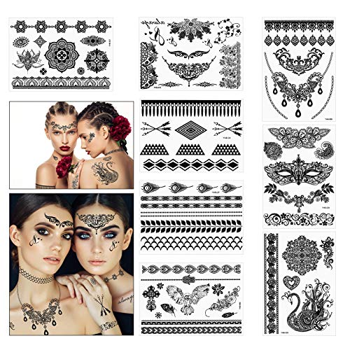 PATAZOK Lace Tattoo Sticker,8 sheets Black Temporary Tattoos Waterproof Fake Jewelry Art Neck Wrist Body Sticker for Carnival Festival Wedding Beach Party Sexy Women Girls Makeup