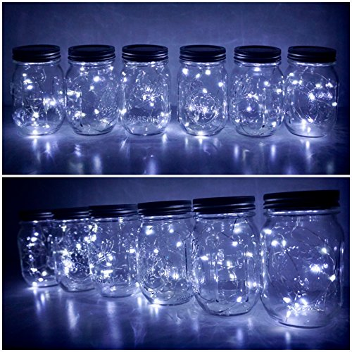 6 Pack Mason Jar Lights 20 LED Solar Cold White Fairy String Lights Lids Insert for Patio Yard Garden Party Wedding Christmas Decorative Lighting Fit for Regular Mouth Jars (20L-CW)