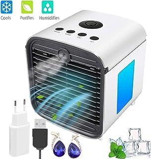 Nifogo Aire Acondicionado móvi portátil Ventilador Pequeño, Air Cooler Enfriador de Air Personal y portátil, 7 Luces LED, 3 Velocidades, para el hogar/Oficina/habitación (Blanco)
