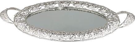 Preisvergleich für Bavary   Luxus   Servierplatte   Serviertablett   Mit Spiegelglas   Silber   Oval   Aus Glas & Mikanit   Silber   Länge: 48 cm   Breite: 35 cm   Höhe: 5 cm