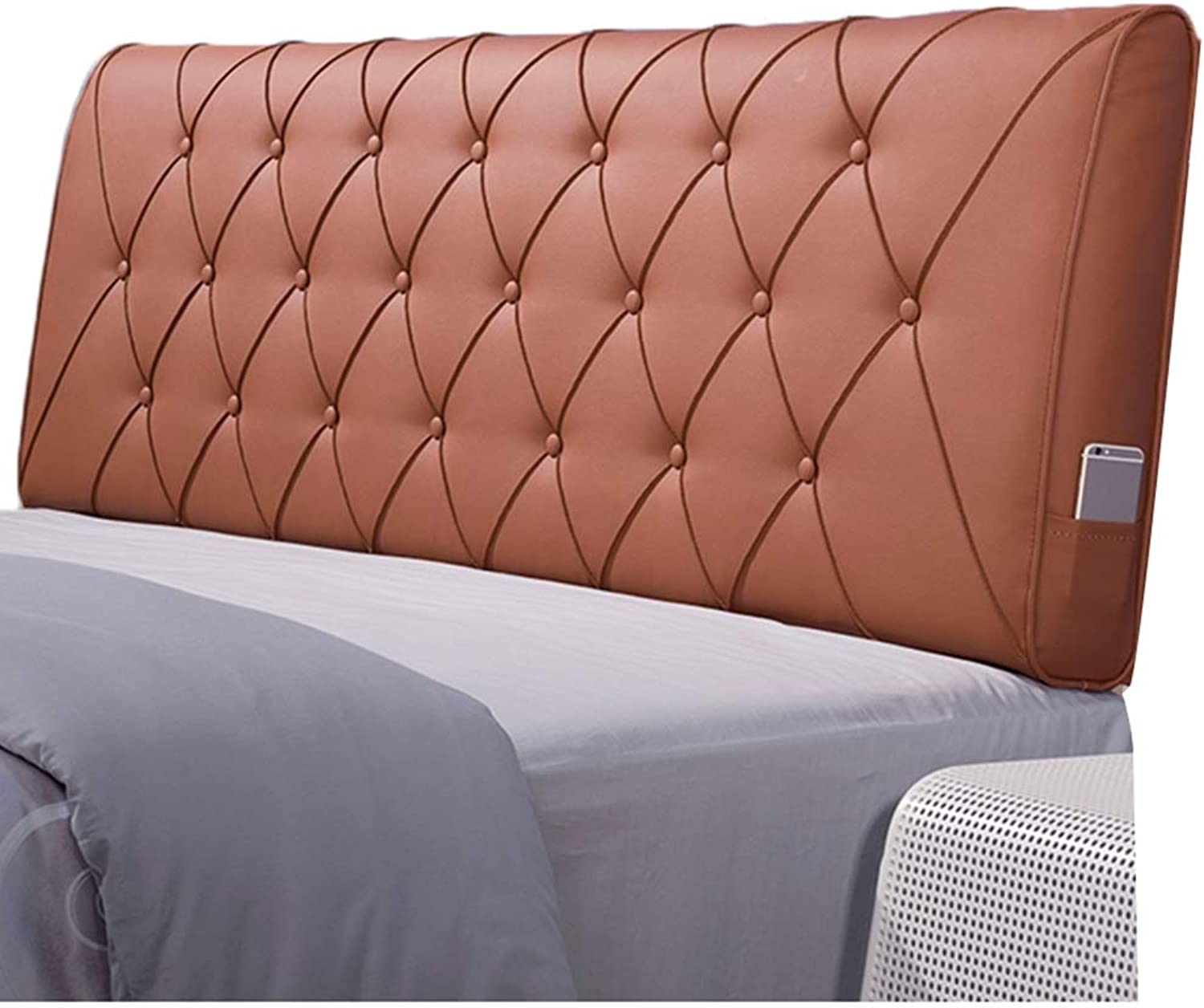 WENZHE Upholstered Fabric Headboard Bedside Cushion Pads Cover Bed Wedges Backrest Waist Pad PU Soft Case Soft Comfortable Home Bedroom Backrest, 5 colors (color   A, Size   90x60x11cm)