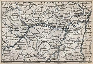 NAHETAL. Idar-Oberstein Kirn Monzingen Rüdesheim Kreuznach Sobernheim - 1889 - old map - antique map - vintage map - Rhineland-Palatinate map s