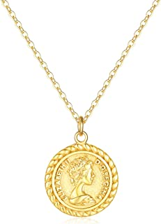Mevecco Gold Coin Pendant Necklace,14K Gold Plated Boho Dainty Vintage Religious Long Chain Disc Charm Minimalist Simple N...