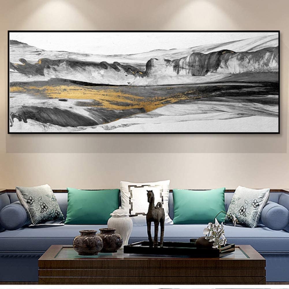 Gold Fluid Modern Abstract Canvas Poster Wandbehänge Wohnambiente Bild