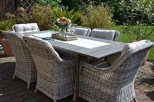Gartenmöbel Set Como-6 Tisch ausziehbar Holzdekor mit 6 Sessel Rattan Polyrattan Geflecht - 6