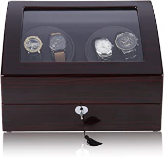 CRITIRON 4+6 Automatic Watch Winder Luxury Storage Case Rotating Display Box, Wood Shell with Piano Paint