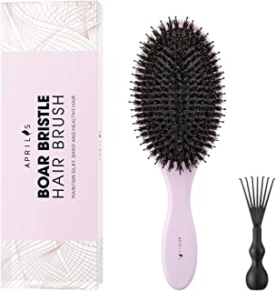 Aprilis Boar Bristle Hair Brush with Nylon Detangle Pins, Bamboo Oval Hairbrush for Effective Straightening and Detangling for Women Men and Child's Hair, with Hair Brush Cleaner