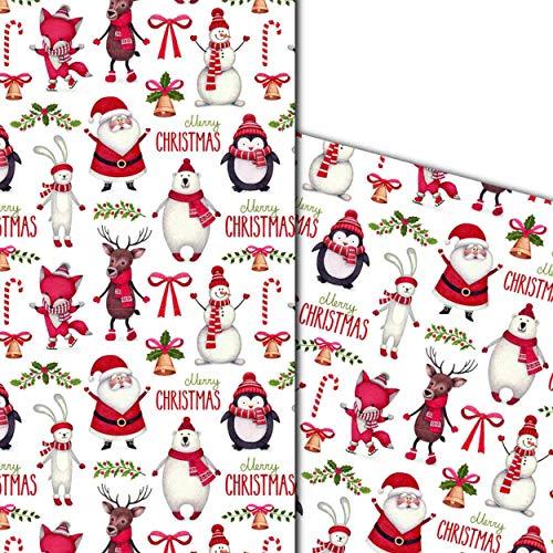 ArtUp.de 5 Bögen Weihnachtspapier Geschenkpapier Weihnachts-Einschlagpapier mit außergewöhnlichen Motiven für tolle Geschenke - edel fein exklusiv lustig - Bogengröße DIN A2 ca. 42 x 59 cm