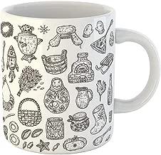 Coffee Tea Mug Gift 11 Ounces Novelty Ceramic Russian Traditional Bagel Vodka Matrioshka Valenki Balalaika Samovar Ear Flap Gifts For Family Friends Coworkers Boss Mug