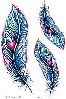Akabsh_accessory Feather & Dandelion-Temporary Metallic Tattoo Stickers,Inspired Gold Silver Flash Tattoos Paper 1 Sheet