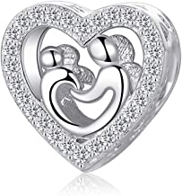 XQY 925 Sterling Silver Charms Love Forever Mother Daughter Son Charm Fit European Bracelets Lucky Charms (Mother and Child's Love)