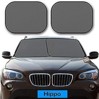 "Hippo Windshield Sun Shade, 2 Piece Universal Car Sun Shade for Windshield Keep Vehicle Cool Foldable Sunshade for Maximum UV and Sun Protection – Windshield Sunshade (Each Panel 29"" x 31"")"