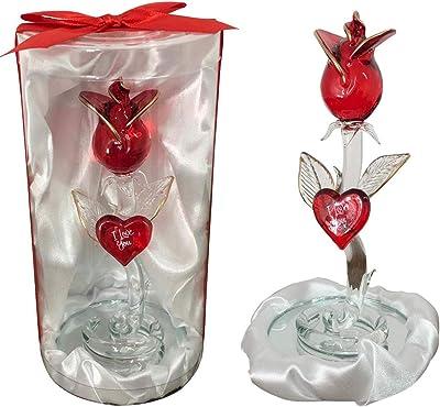 Safri - Rosa de Cristal de pie para Caja de Regalo, día de San ...