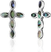 Children's 925 Sterling Silver Cross Shell Stud Earrings