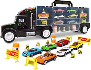 WolVolk Transport Car Carrier Truck Toy for Boys and Girls (Includes 6 Cars and 28 Slots)