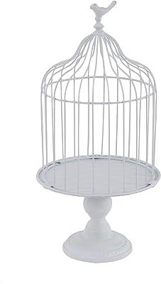 """Deco 79 74884 Farmhouse Metal Birdcage Planter, 11"""" W x 22"""" H, White"""