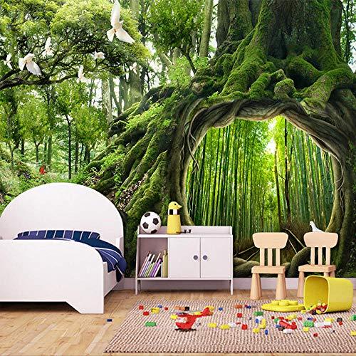 Foto papel tapiz verde virgen bosque árbol agujero estéreo mural mural salón dormitorio fondo Murales 3D @ 150 * 105 cm