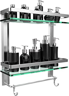 GeekDigg Bathroom Shelf, Durable Aluminum with 2 Tiers Tempered Glass Shower Shelf Kitchen Storage Bracket, Wall Mounted Shelves Shower Caddy with Tower Bar (2 Tiers)