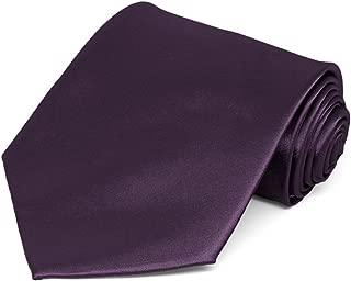 TieMart Eggplant Purple Solid Color Necktie