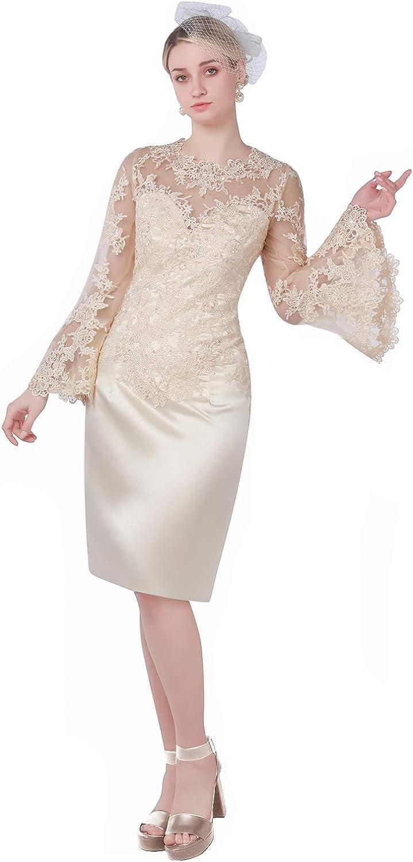 New Deve Mother Of The Bride Dress Tea Length Lace Sheath Women's Dress Pagoda