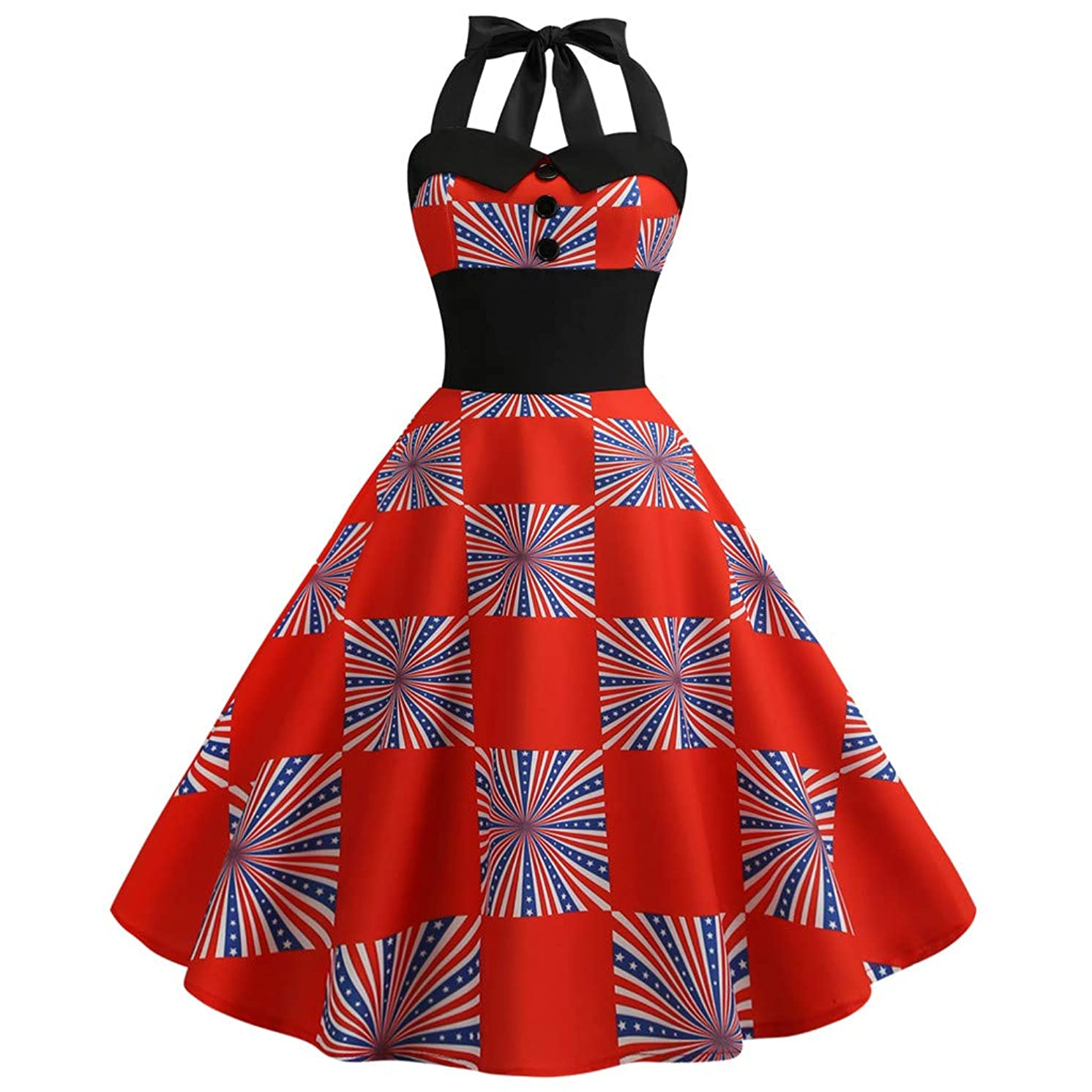 Little Story Women American Flag Print Evening Party Prom Swing Button Halter Hepburn Dress