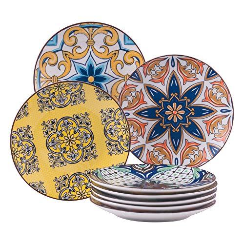 Dessertteller Porzellan, vancasso 8 teilige JASMIN Kuchenteller Ø 21 cm, Essgeschirr Flachteller für Frühstück, Aladin Serie