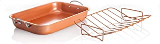 Copper Turkey Pan Roaster w/Rack Nonstick 2 Piece