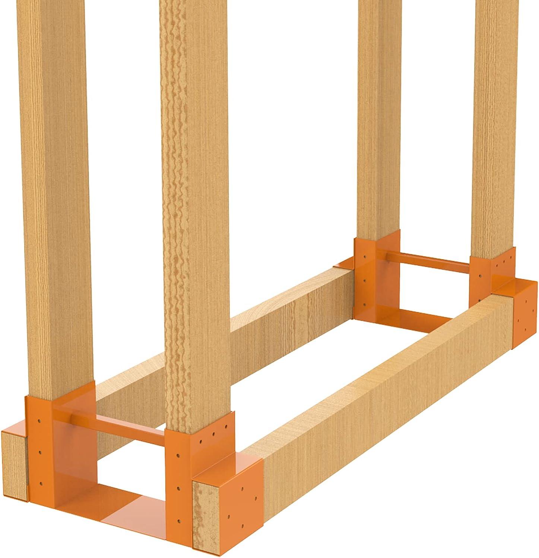 Foozet Firewood Rack Outdoor Brackets, Heavy Duty Steel Adjustab