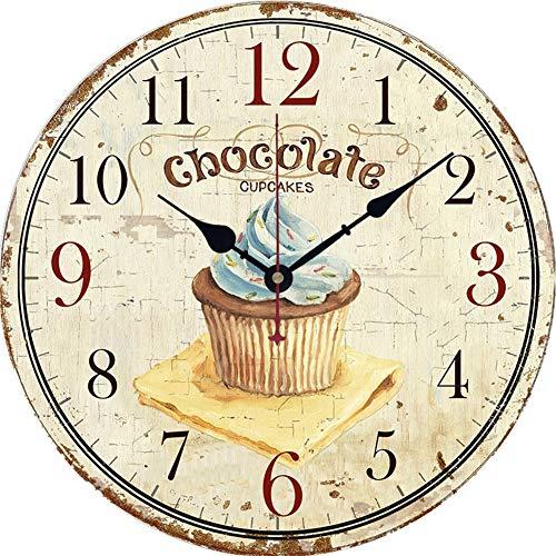YUN Clock@ Wanduhr Holz Küchenuhr mit großem Ziffernblatt Chef-Gebäck-Serie, Retro Uhr im angesagtem Shabby Chic Design mit leisem Quarz-Uhrwerk, Ø: 34 cm,I