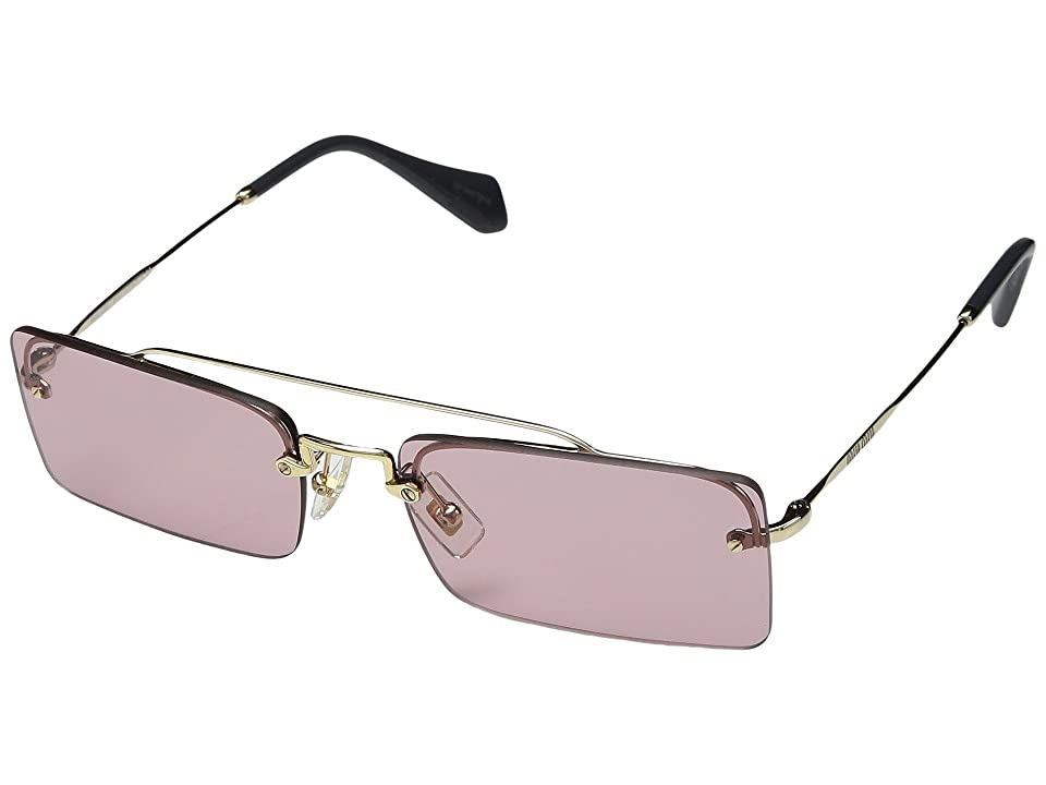 Miu Miu 0MU 59TS (Pale Gold/Light Violet) Fashion Sunglasses